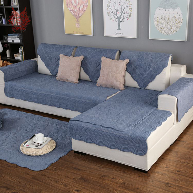 Us 13 2 45 Off Green Blue Floral Embroidery Quilted Sofa Cover Cotton Slipcovers For Living Room Furniture Covers Sectional Couch Covers Sp4894 In
