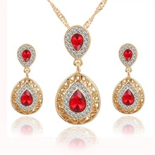 цена на luxe European and American Deluxe Water Drop Crystal Necklace Earrings For Women jewelry sets Fashion gifts