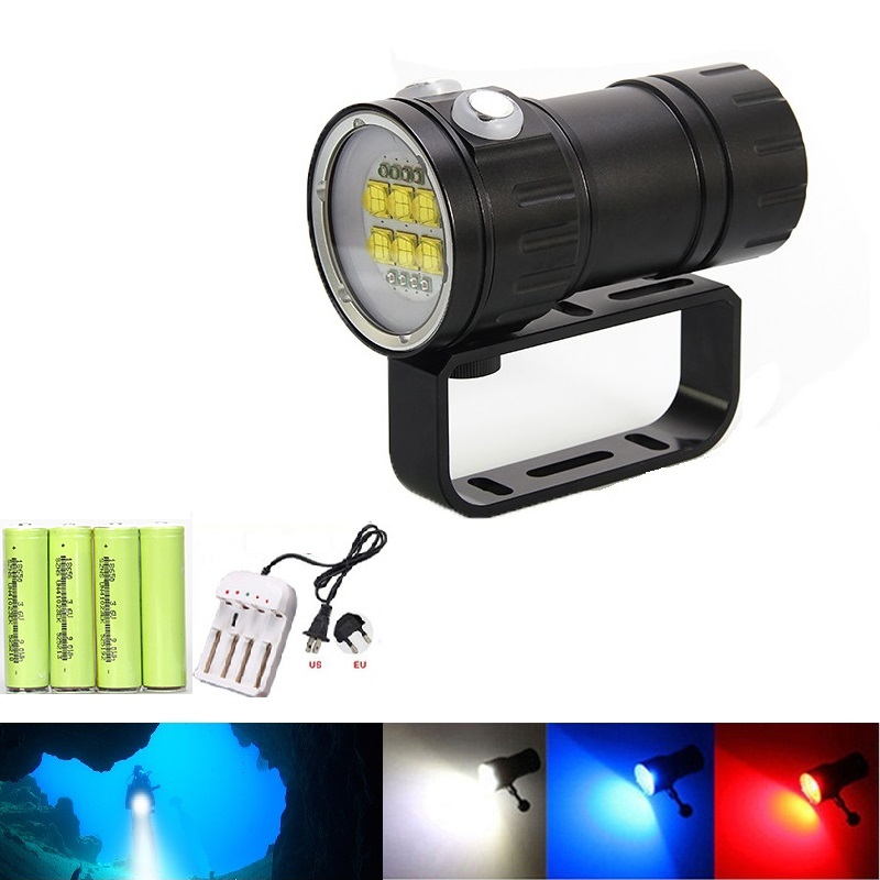 Waterproof Diving Light Photography Diver Lamps Camera Flashlight 6x XML L2+4x XPE Red+4x XPE Blue Led UV Flashlight waterproof diving light photography diver lamps camera flashlight 6x xml l2 4x xpe red 4x xpe blue led uv flashlight