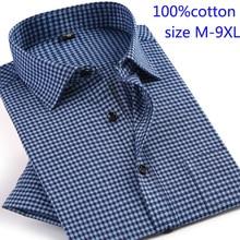 Мужская рубашка с короткими рукавами, летняя рубашка в клетку из 100% чистого хлопка, свободного покроя, размера плюс, 9XL, 2019