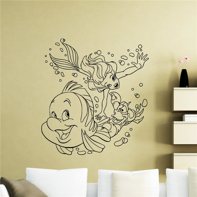 Ariel Mermaid Wall Decal Nursery Cartoon Wall Sticker Home Decor ...