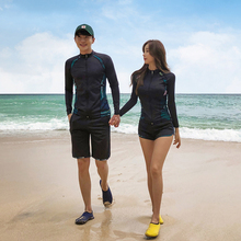 купить Rhyme Lady swimwear for lovers 2019 new design long sleeve Rash guard sun protective bathing suit woman three pieces beachwear дешево