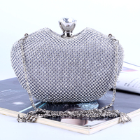 Heart Design Diamonds Women With Chains Shoulder Bags Gold Clutch Purse Evening Bags For Wedding Dinner