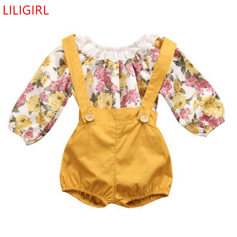 Kids Girls Princess Lace Rompers+Shorts Sunsuit Clothes Set Long Sleeve Clothing Summer Baby Girl Dress Floral Outfits Clothes ...