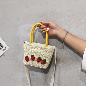2019 New Fashion Summer Straw Shoulder Bags Handbags Women Famous Brands Small Fruit Zipper Bags for women 2019