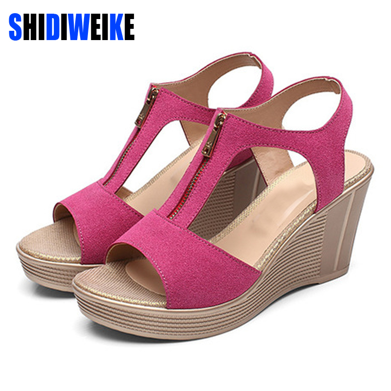 SHIDIWEIKE Plus Size Women Sandals Platform Women Shoes Wedges Sandals Open Toe Summer Sandals b823 timetang summer women shoes woman fashion genuine leather open toe sandals ladies casual platform wedges plus size sandals c213