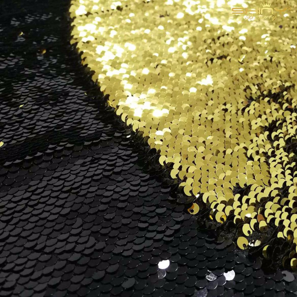 ShinyBeauty Personnalisé 8X9FT Réversible Toile De Fond De Paillettes Rideau Or et Noir Sirène Toile De Fond De Paillettes-ar