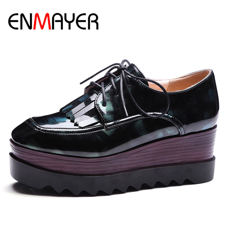 ФОТО ENMAYER Spring Autumn Casual Women Flats Shoes Square Toe Flat Platform Lace-Up Tassel Large Size 34-43 Red Blue Green