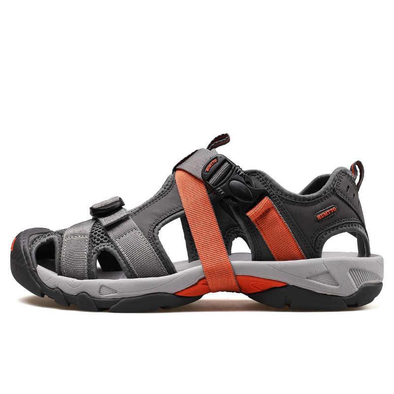 Marka sandalet erkekler 2019 yeni erkek rahat açık kaymaz aşınmaya dayanıklı nefes örgü Skynet hafif erkek yaz ayakkabı
