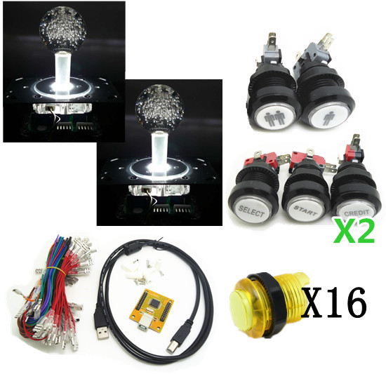 5V lighting joystick and buttons with 2 player PC PS 3 2 IN 1 Arcade to USB controller 2 player MAME Multicade Keyboard Encoder