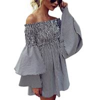 Women Oversized Pleated Plaid Dress Summer Elegant Striped Flare Sleeve Loose Casual Sweet Dresses Vestidos XBY