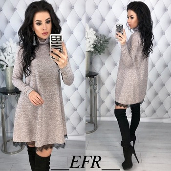 New Fashion Spring Winter Style Turtleneck Long Sleeve A-line Lace Hem Elegant Warm Dress Knitting Mini Vestidos Pluse Size