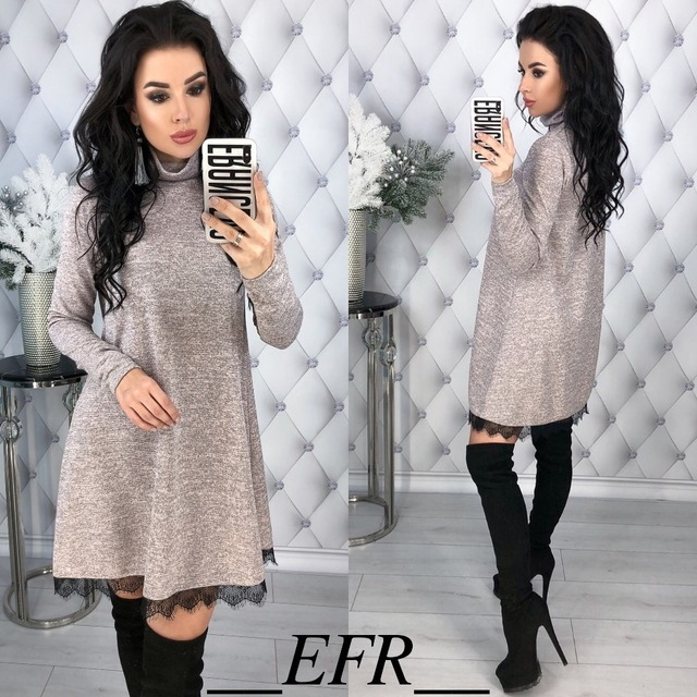 New Fashion Spring Winter Style Turtleneck Long Sleeve A-line Lace Hem Elegant Warm Dress Knitting Mini Vestidos Pluse Size