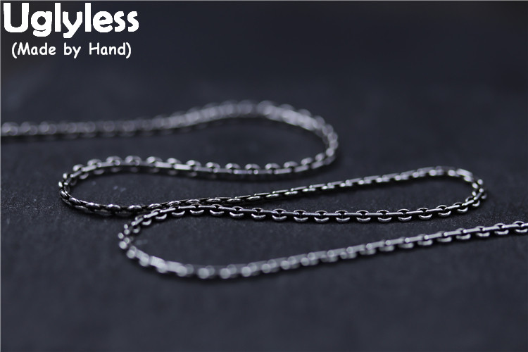 Uglyless Real S925 Vintage Thai Silver Cross Chains Necklaces without Pendants for Men Women Unisex Accessaries Jewelry Handmade