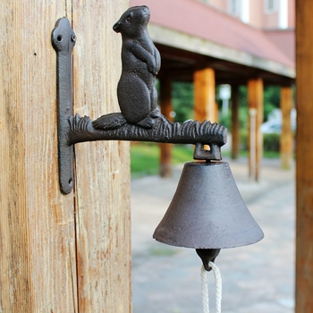 Wandhalterung Stehen | Europäischen Vintage Stehend Murmeltier Design Gusseisen Wand Montiert Hand Ankurbeln Willkommen Glocke