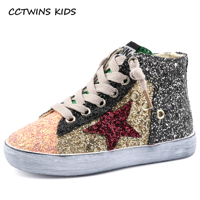 CCTWINS KIDS 2018 Children Boy Brand Glitter High Top Sneaker Baby Girl Fashion Trainer Toddler Pu Leather Sequins Shoe F1701