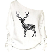 2016 Hot Sale New Design Casual 3D Printed The Deer Silhouette Sweatshirts For Women Autumn Fleece