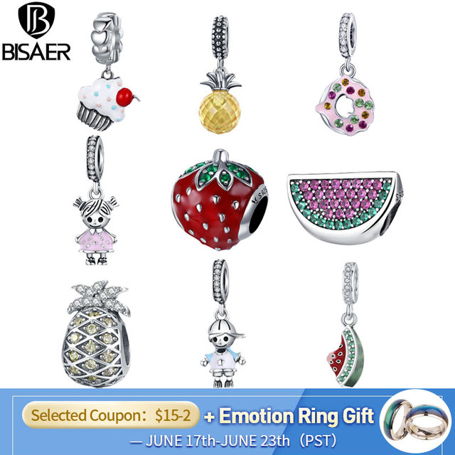 BISAER Hot Sale 925 Sterling Silver Pineapple Fruit Watermelon Cake Food Strawberry Charm Fit Charm Bracelet Silver 925 Jewelry