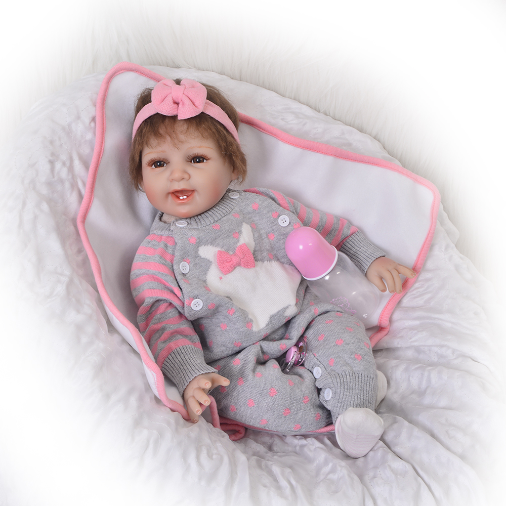Newborn Doll Smile Baby Girl Dolls 22 inch Soft Silicone Reborn Baby Alive Dolls with Mohair Realistic Boneca Reborn Kids Toy npk cute smile baby girl dolls real soft silicone reborn babies 55 cm with fiber hair realistic boneca reborn doll