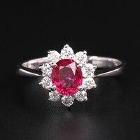 Robira 1ct Anelli di Cerimonia Nuziale Per Le Donne 18 K Gold Diamond Belle Gioielli Kate Principessa Diana Rosso Rubino Naturale di Fidanzamento Band anelli
