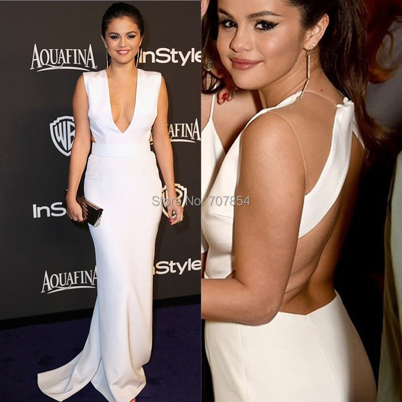 selena gomez white Deep V neck Backless evening dress 2015 instyle ...