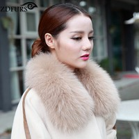 2018 Real Fox Fur Collar Women's Fur Scarf Winter Neck Warmer Clothing Accessories 9 Colors