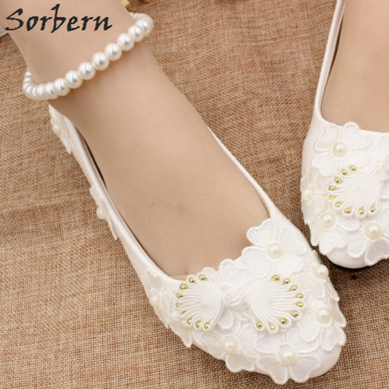 Sorbern White Flower Beading Ankle Strap Wedding Shoes Flats Bridesmaid Girls Flat Shoes For Brides Party Shoes Bride Shoes 2018 ivory fashion lace flowers flat heel wedding shoes woman pearls ankle beading beaded anklet sweet flower girls bridesmaid shoes