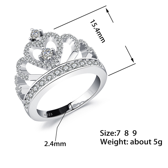 Jiayiqi 2018 Princess Style Cubic Zirconia Hollow Heart Silver/Rose Gold Color Crown Ring Jewelry Engagement Wedding Party 1