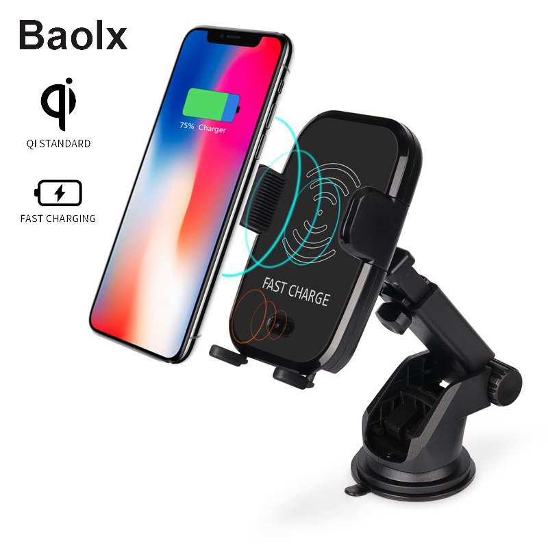 Wireless Car Charger Automatic open Infrared Sensor Qi Wireless Fast Charger for Samsung Galaxy S9 Plus S8 S7 Note 8 iPhone X 8