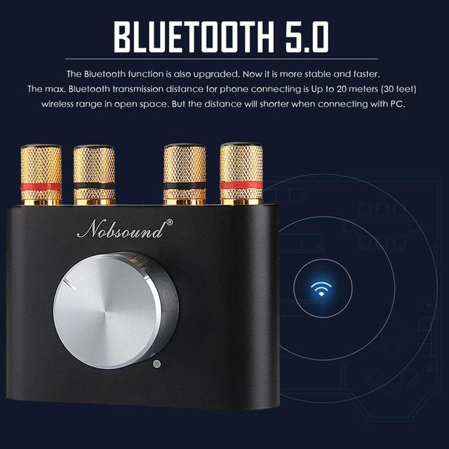 2019 Latest Nobsound Mini Bluetooth 5.0 Digital Amplifier Hifi Stereo Home Audio Power Amp 50W+50W Car Amplifier