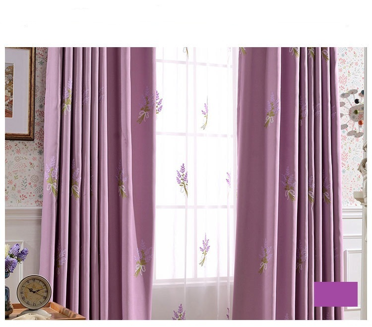 High quality linen pastoral floral lavender embroidered window blackout curtain for living room for Lavender curtains for living room