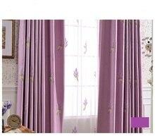 Haute qualité lin pastorale floral lavande brodé Fenêtre Rideau D'occultation pour Salon Chambre 4 couleurs 1 pcs prix
