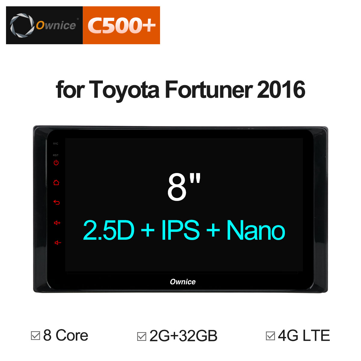 Ownice C500+ G10 Android 8.1 Octa Core Car DVD Radio GPS Player for Toyota Fortuner 2016 Navigation Audio With 2G RAM 32G ROM цена