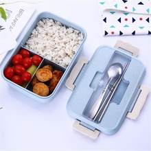 Tarwe stro lunchbox Bento Magnetron Bento Lunchbox Picknick Voedsel Container Lunchbox Voedsel Opslag Container voor Student(China)