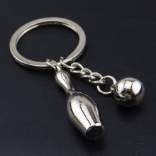 12pcs/lot Zinc Alloy Key Chain Mobile Phone Accessories Bowling Sports Keyring KeyChain(China)