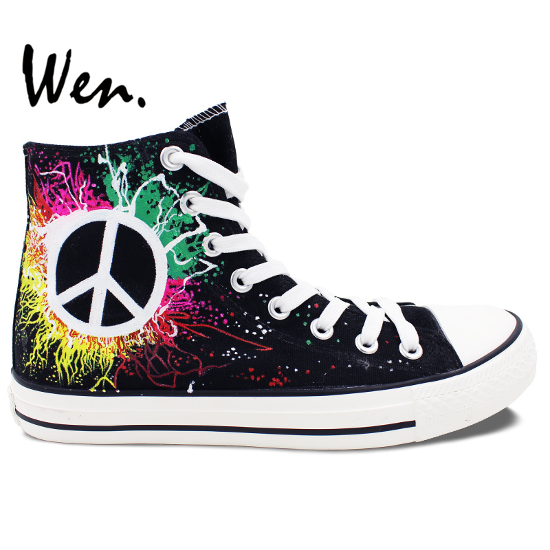 Wen Hand Painted Black Canvas Shoes Design Custom Symbol of Peace High Top  Men Women s Canvas Sneakers Birthday Gifts eecaad9c4152
