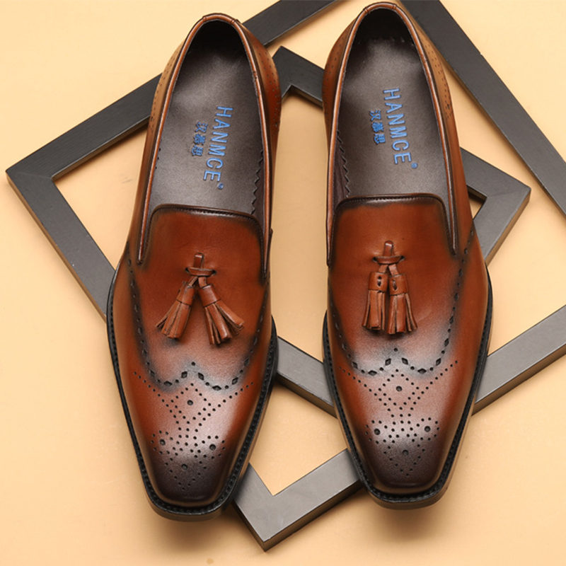 Mens formal shoes leather men dress oxford shoes for men dressing wedding business office shoes tassel