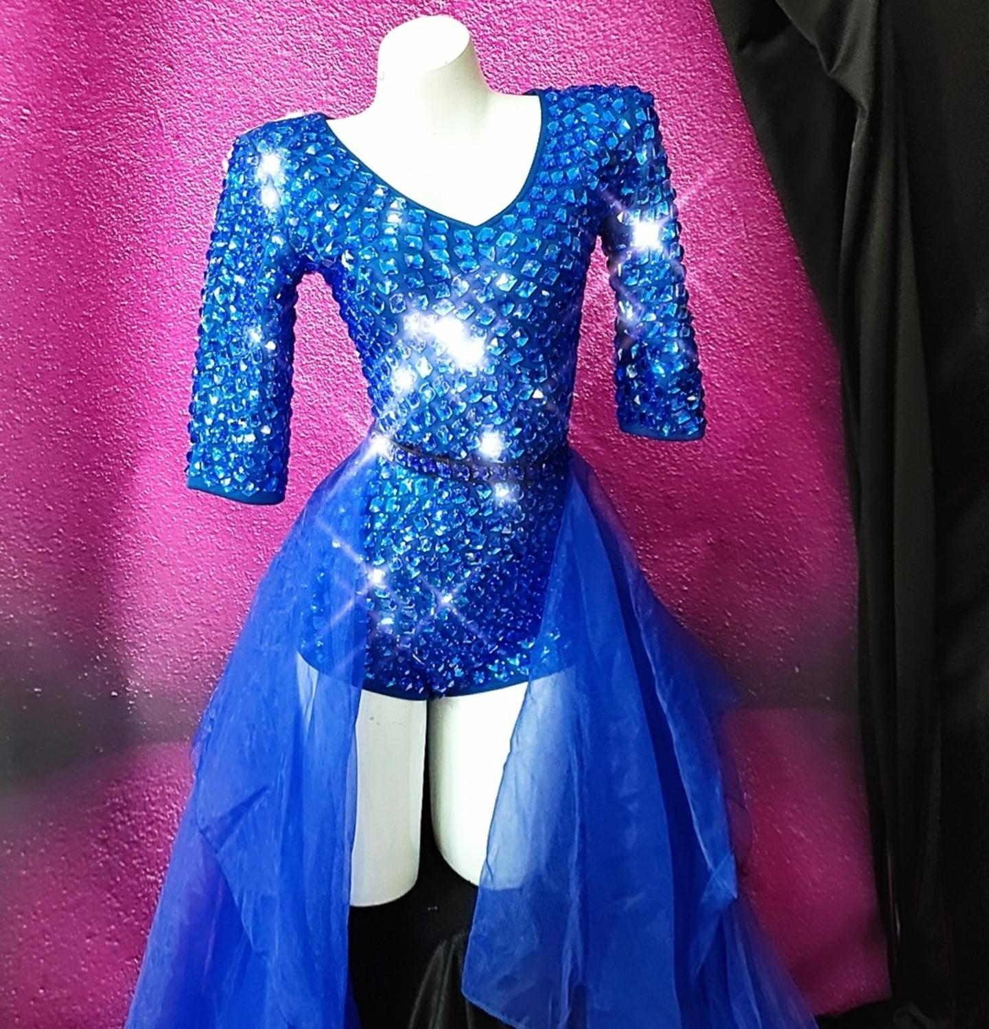 Shining Women Sexy Blue Stones Dance Shining Outfit Singer Dancer Stage Bodysuit Trains Costume Nightclub Prom Show Clothing Set