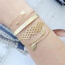 4pcs/Set Charm Romantic Gold Color Leaf Open Cuff Bangles/Bracelet Set For Women Metal Alloy Arrow Link Chain Twist Bangle