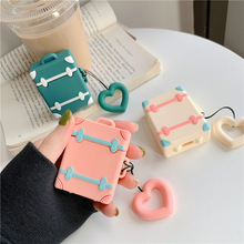 Bluetooth Earphone Case for Airpods cute Accessories Protective Cover Bag Anti-lost Strap Cartoon Silicone luxury Retro suitcase