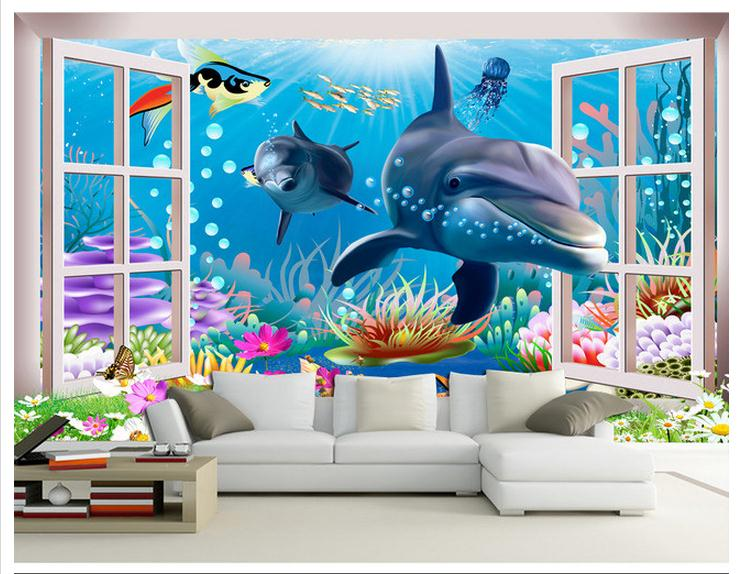 3D wallpaper custom mural beauty 3 d underwater world aquarium cartoon children room background wall paintings non-won wallpaper Обои