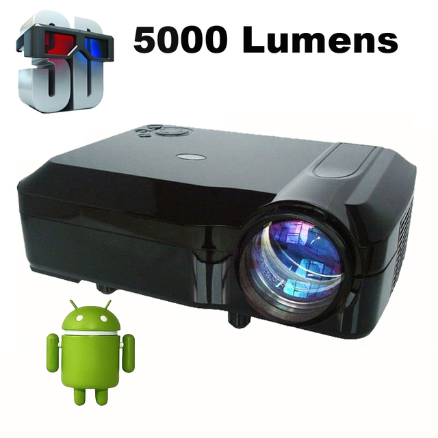 Mais barato Android 4.4.4 Externo Wi-fi Inteligente 5000 Lumens Full HD 1080 P multimedia 3D LED Projector proyector beamer para home teatro