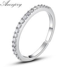 ANENJERY – bague de mariage en argent Sterling 925 pour femmes, anneau simple, rangée ouverte en Zircon, deux couleurs, S-R82