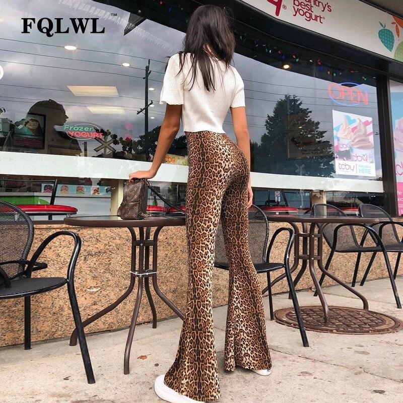 FQLWL Sexy Club Leopard Wide Leg Pants Women Trousers Snake Print High Waist Skinny Pants Female Streetwear Bodycon Flare Pants