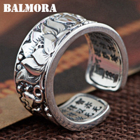 BALMORA 100 Real 990 Pure Silver Lotus Flower Buddhistic Heart Sutra Rings For Women Men Gift