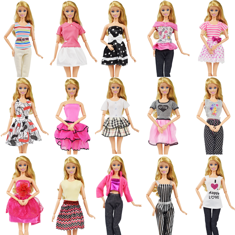 5 Pcs/lot Random Style Mixed Handmade Doll Clothes Dress Accessories Pants Skirt Clothes Dress Suit For Barbie Doll Accessories