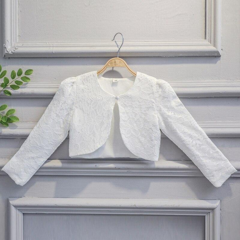 Kids Girls Lace Cardigan Baby Long Sleeves Crochet Bolero Jackets For Girl Wedding Party Cape Coat Children Dress Tops Clothing