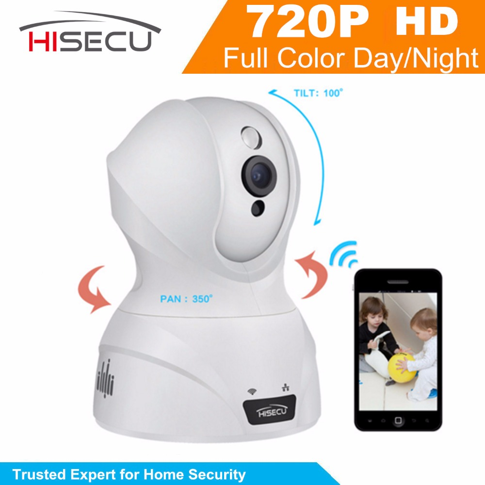Hisecu Indoor Home Security IP Camera 720P Wifi Wireless Baby Monitor Built-in SD Card Slot,Two-Way Audio,Night Version