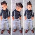 Europeus e Americanos estilo Outono Belos Rapazes Cavalheiro Moda Infantil Camisa Xadrez de Manga Comprida + Calça + Cinta 3 Pçs/set H00128