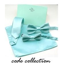 Fshion Cute Adjustable Bow Tie Pocket Towel Set Blue-green Lake Blue For Men Women Boy Wedding Silk Shirt Collar Accessories
